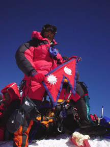 Nawang on the summit of Mt. Everest in perfect weather, May 16, 2004